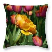 Double Petal Yellow Tulip Throw Pillow
