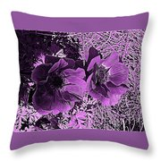 Double Poppies In Purple Throw Pillow