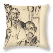 Double Portrait With Skeleton (doppelbildnis Mit Skelett) Throw Pillow