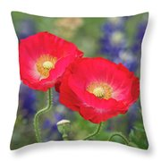 Double Take-two Red Poppies. Throw Pillow