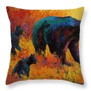 Double Trouble - Black Bear Family Throw Pillow