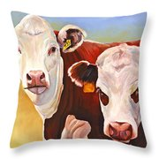 Double Trouble Hereford Cows Throw Pillow