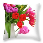 Double Tulips Bouquet Throw Pillow