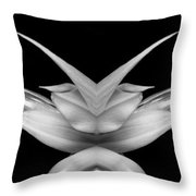 Double Vison Close-up Of Amaryllis Bloom Bw Throw Pillow