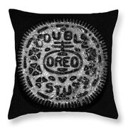 Doulble Stuff Oreo In Black And White Throw Pillow