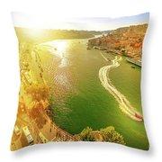 Douro River At Sunset Throw Pillow