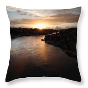 Douro River At Sunset In Portugal Throw Pillow