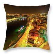 Douro River Skyline Night Throw Pillow