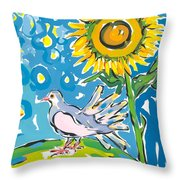 Dove And Sunflower Throw Pillow