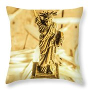 Dove Feathers And American Landmarks Throw Pillow