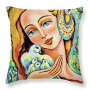 Dove Forest Fairy Throw Pillow