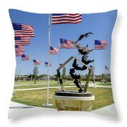 Doves And Flags Throw Pillow