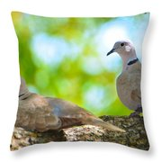 Doves In A Tree Throw Pillow
