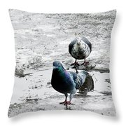 Doves On The Street Throw Pillow