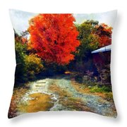 Down A Country Road - Autumn Throw Pillow