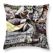 Down Boots Up Boots Throw Pillow