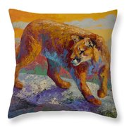 Down Off The Ridge - Cougar Throw Pillow
