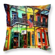 Down On Bourbon Street Throw Pillow