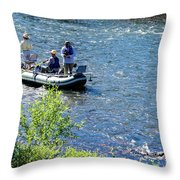 Down River Fly Fishing Throw Pillow