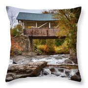 Down The Road To Greenbanks's Hollow Covered Bridge Throw Pillow