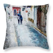 Down The Street Throw Pillow by Charlie Roman