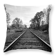 Down The Tracks Throw Pillow