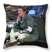 Down Time-us Army Nurse Corps Throw Pillow