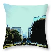 Down University Avenue Throw Pillow