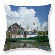 Downeast Style Yacht Docked On Shem Creek In Charleston Throw Pillow