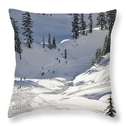 Downhill Skiers Throw Pillow