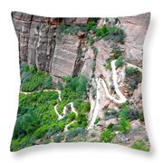 Downhill Switchbacks From Angels Landing Throw Pillow