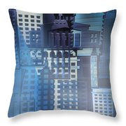 Downtown Abstract - Blue Mist Throw Pillow