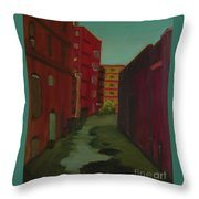 Downtown Alley-portland Maine Throw Pillow