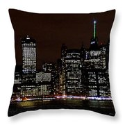 Downtown At Night Throw Pillow