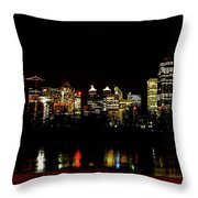 Downtown Calgary At Night Throw Pillow
