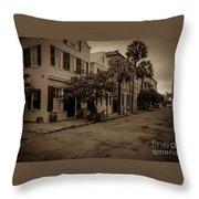 Vintage Downtown Charleston South Carolina Throw Pillow
