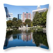 Downtown Charlotte North Carolina From Marshall Park Throw Pillow