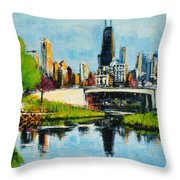 Downtown Chicago From Lincoln Park Throw Pillow