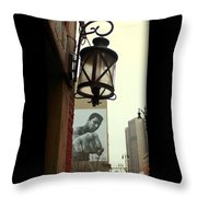 Downtown Detroit Light Fixture With Muhammad Ali Billboard Throw Pillow