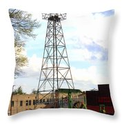 Downtown Gladewater Oil Derrick Throw Pillow