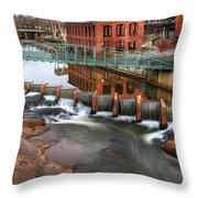 Downtown Greenville On The River Winter Throw Pillow