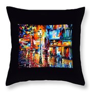 Downtown Lights - Palette Knife Oil Painting On Canvas By Leonid Afremov Throw Pillow