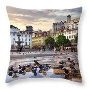 Downtown Lisbon Throw Pillow by Carlos Caetano