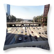 Downtown Los Angeles. 110 Freeway And Wilshire Bl Throw Pillow