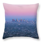 Downtown Los Angeles Skyline At Sunset Throw Pillow