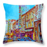 Downtown Montreal Street Rue Ste Catherine Vintage City Street With Shops And Stores Carole Spandau  Throw Pillow