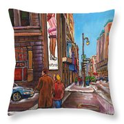 Downtown Montreal Streetscene At La Senza Throw Pillow