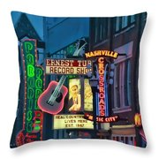 Downtown Nashville At Dusk Throw Pillow