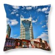 Downtown Nashville Blue Sky Throw Pillow