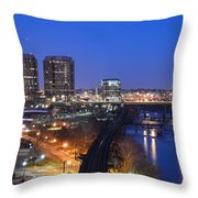 Downtown Nightlife Throw Pillow